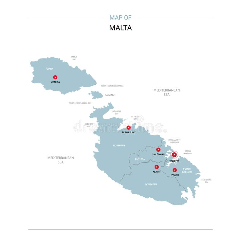 Malta map vector with red pin. Malta vector map. Editable template with regions, cities, red pins and blue surface on white background stock illustration