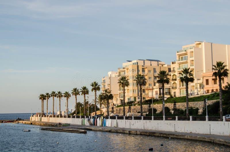 Malta, vista baia sul mar Mediterraneo, St Paul immagini stock libere da diritti