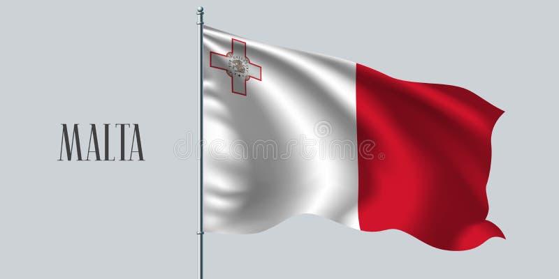 Malta waving flag on flagpole vector illustration. Red white element stock illustration