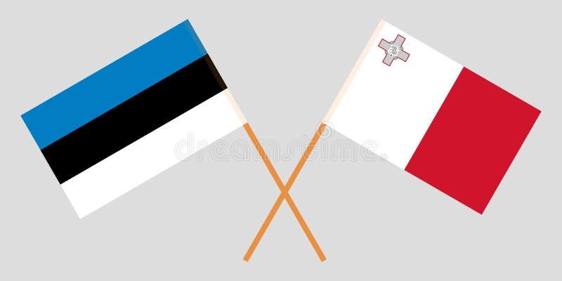 Malta y Estonia Las banderas maltesas y estonias ilustración del vector