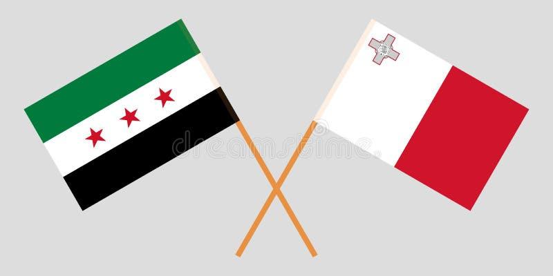 Malta y gobierno provisional de Siria Las banderas maltesas y de la coalición Colores oficiales Proporci?n correcta Vector libre illustration