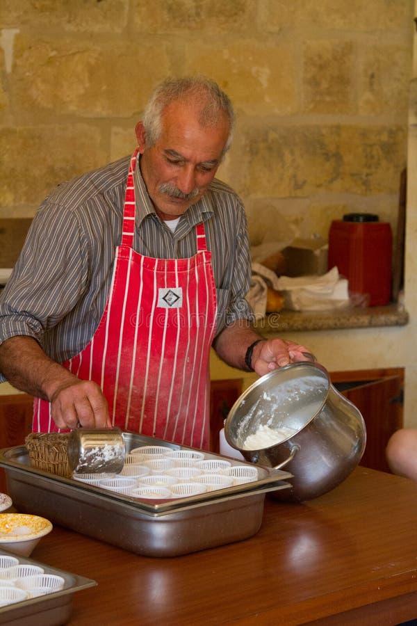 Maltese cheese making royalty free stock photo