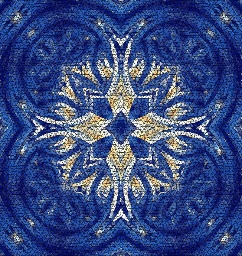 Maltese cross mosaic. One of my colorful tile patterns, with a twist. This one is broken into irregular little stones -- a complex and gorgeous mosaic stock illustration