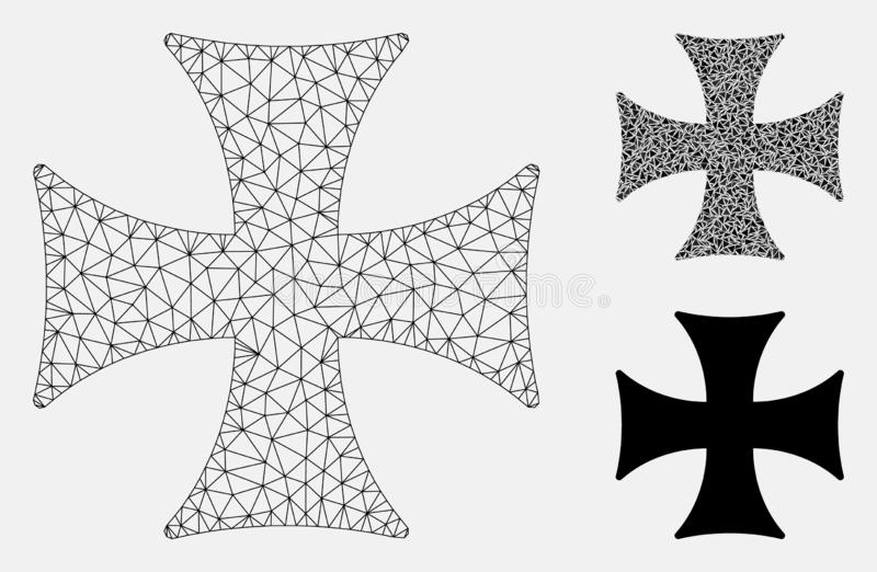 Maltese Cross Vector Mesh Network Model and Triangle Mosaic Icon vector illustration