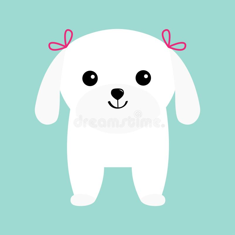 Maltese dog puppy White lapdog. Animal icon set. Cute cartoon character. Pet animal collection. Adopt concept. Flat design. Blue b royalty free illustration
