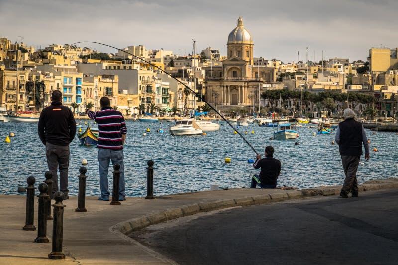 Maltese fishing. Quay of Kalkara, Birgu, Bormly, Valletta. Malta. stock photography
