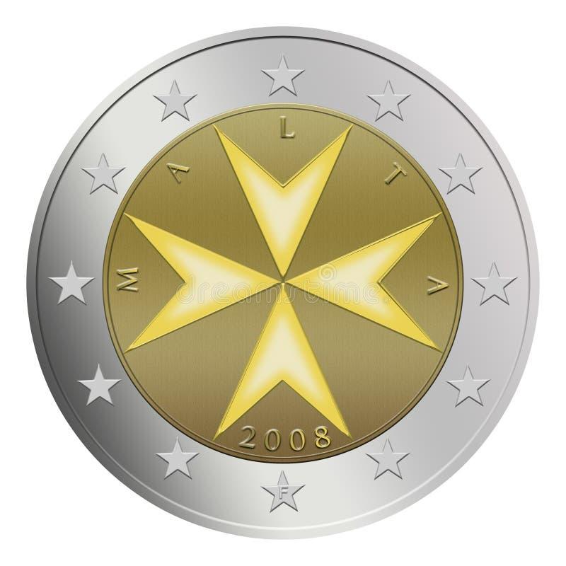 Maltesische Münze des Euro-2 lizenzfreie abbildung