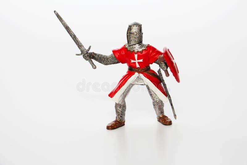 Maltesischer Ritter auf einem wei?en Hintergrund Spielzeug f?r Kinder lizenzfreie stockfotografie