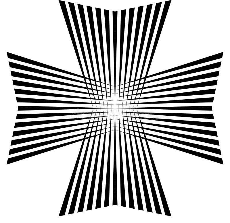 Maltesiskt kors, med konst från strålbanden, vektorsymbol av segern och makt royaltyfri illustrationer