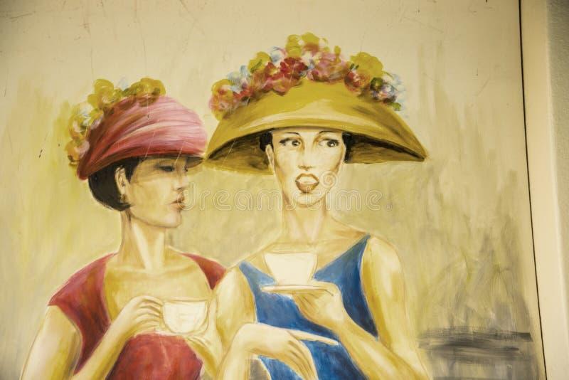 Malująca ściana na Santa Maria ulicie w Funchal maderze obraz stock