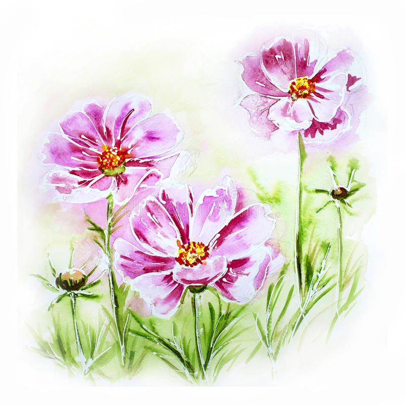 Malująca akwareli karta z kwiatami ilustracji