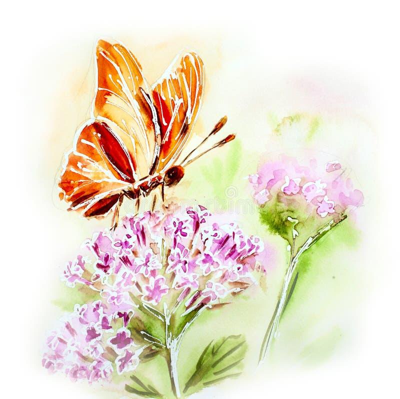 Malująca akwareli karta z kwiatami i motylem ilustracja wektor