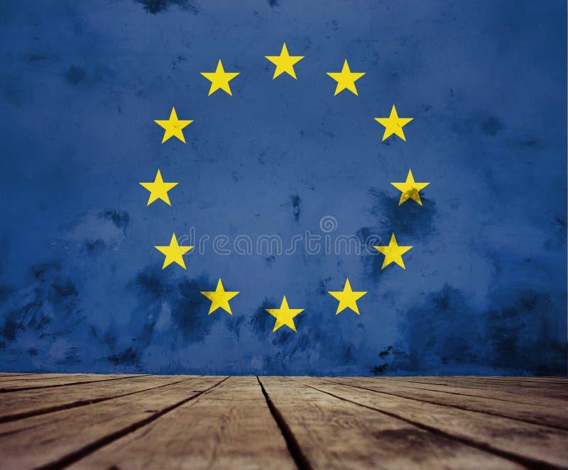 Malująca Europejska Zrzeszeniowa flaga ilustracji