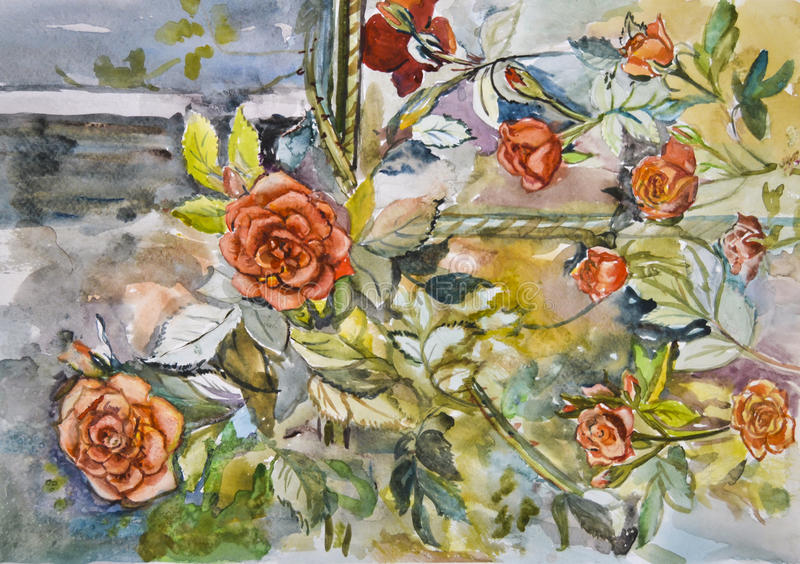 Malująca jaskrawa piękna sceniczna czerwień kwitnie róży akwarelę zdjęcie royalty free
