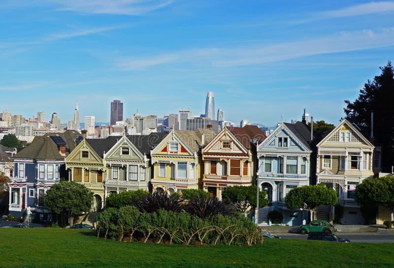 Malujący dama domy w San Francisco obraz royalty free