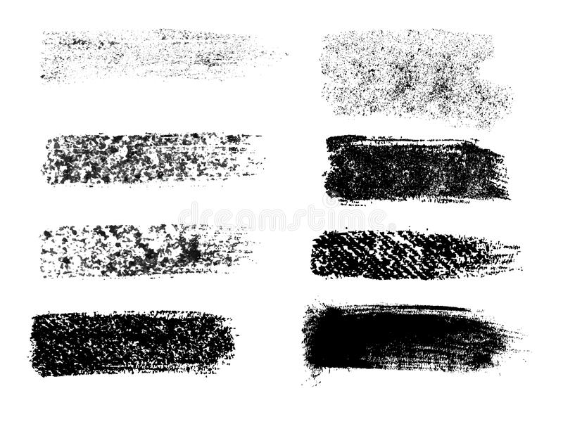 Malujący grunge lampasy ustawiający Czerni etykietki, tło, farba tekst ilustracja wektor