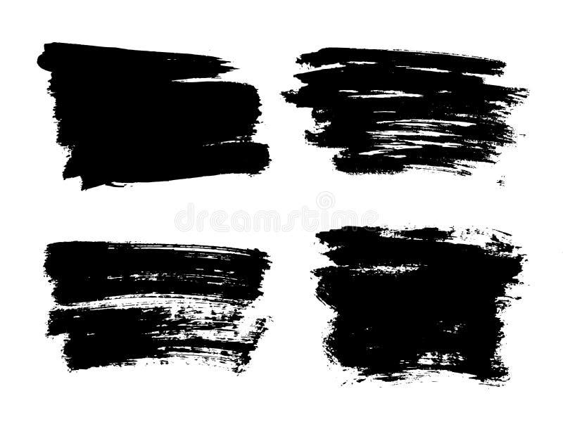 Malujący grunge lampasy ustawiający Czerni etykietki, tło, farby tekstura Muśnięcie muska wektor Handmade projektów elementy ilustracja wektor