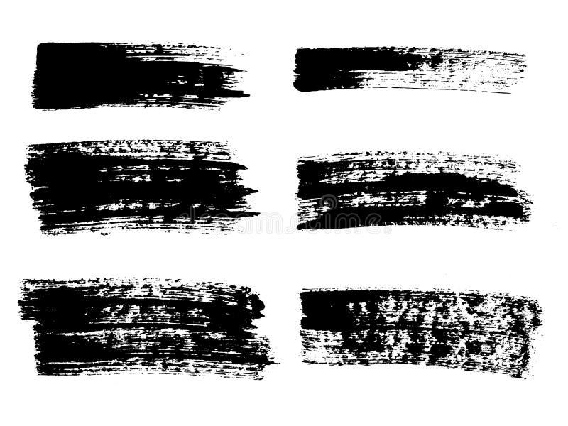 Malujący grunge lampasy ustawiający Czerni etykietki, tło, farby tekstura Muśnięcie muska wektor Handmade projektów elementy ilustracji