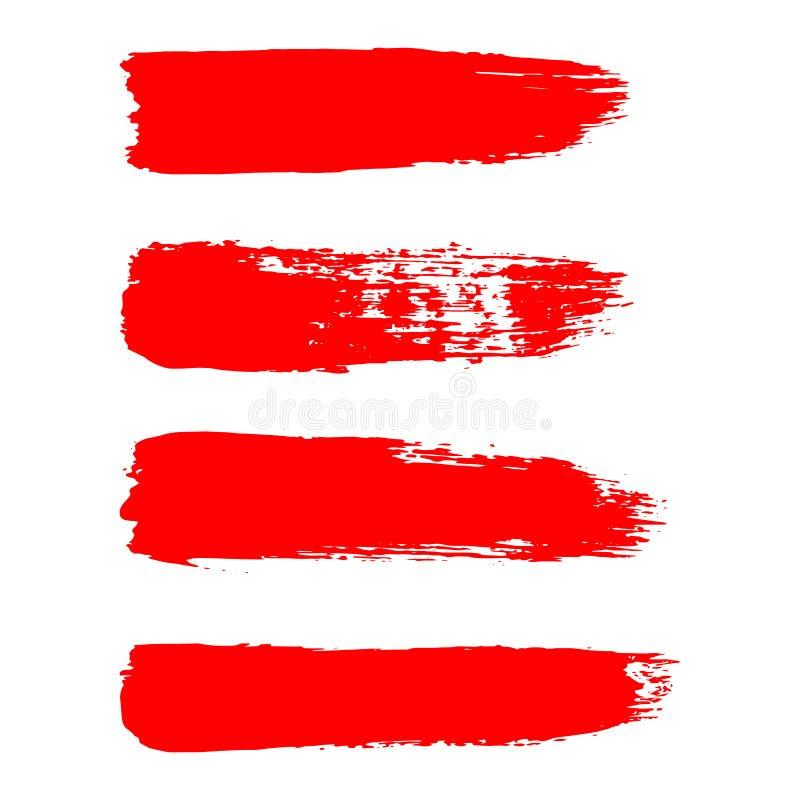 Malujący grunge lampasy ustawiający Czerwone etykietki, tło ilustracja wektor