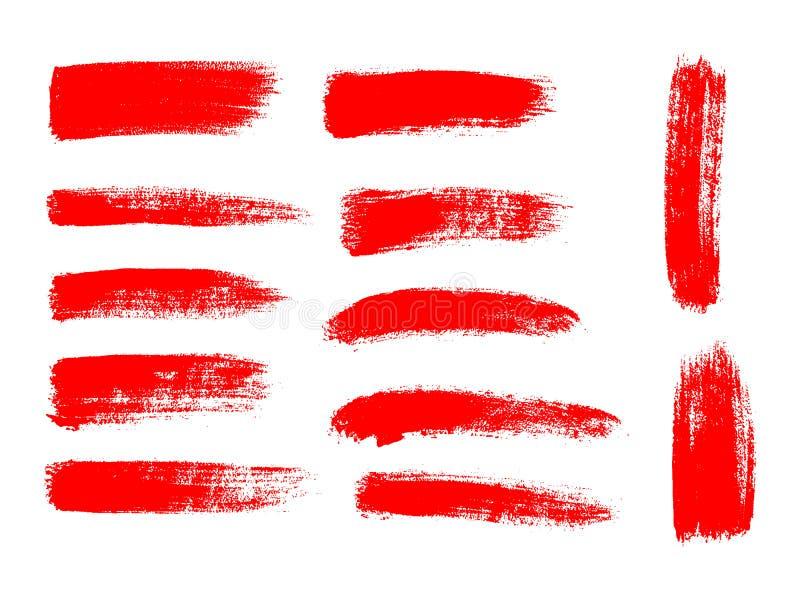 Malujący grunge lampasy ustawiający Czerwone etykietki, tło royalty ilustracja