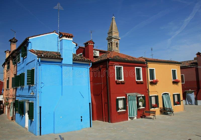 malujący kolorowi burano domy obrazy royalty free
