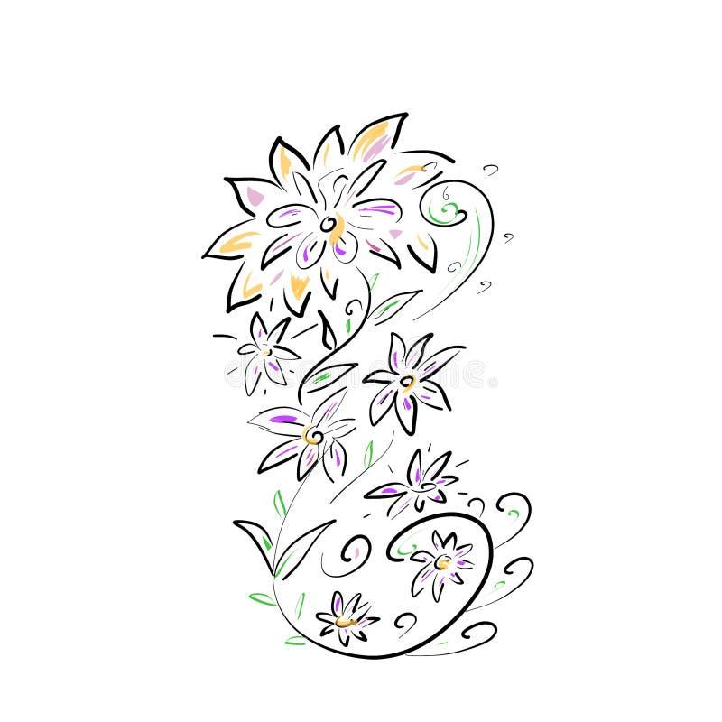 Malujący kwiaty na bielu royalty ilustracja