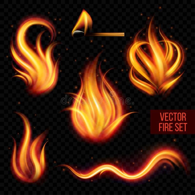 Malujący przejrzysty wektoru ogień na czarnym tle royalty ilustracja