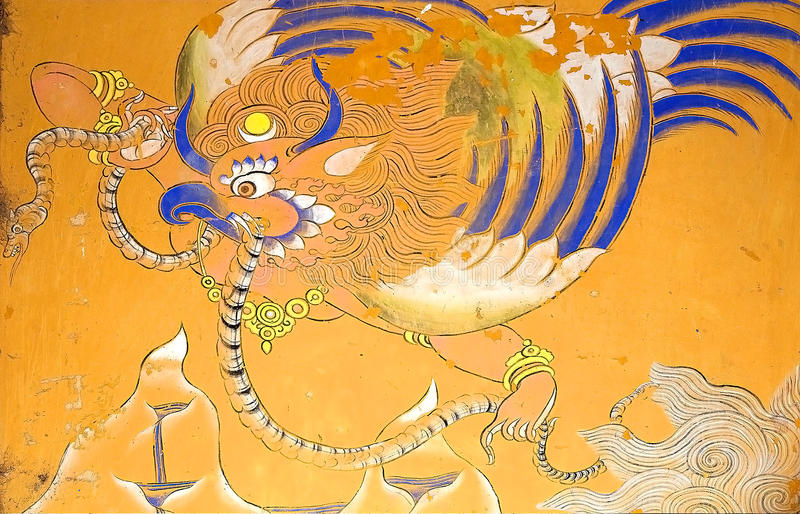 Malujący przy Wangduechhoeling pałac ruinami, Bumthang, Bhutan obrazy royalty free