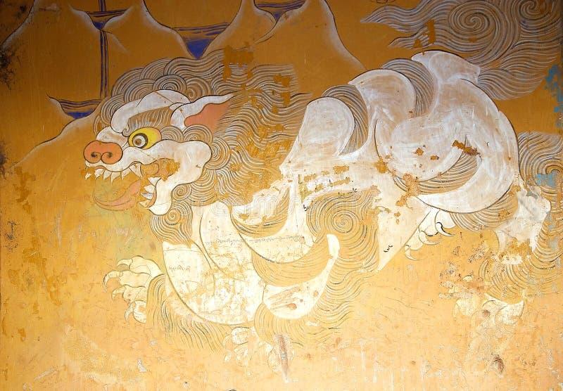 Malujący przy Wangduechhoeling pałac ruinami, Bumthang, Bhutan zdjęcie royalty free