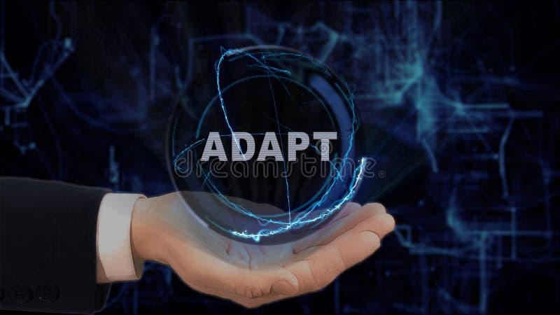 Malujący ręk przedstawień pojęcia hologram Adaptuje na jego ręce obraz stock
