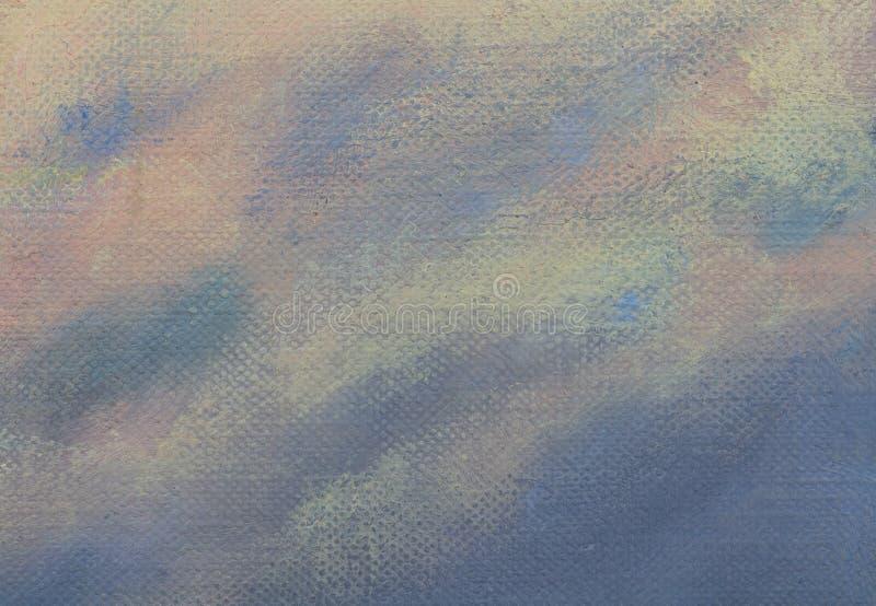 Malujący tekstury tło z mauve, błękita i asure colours na kanwie, obraz stock