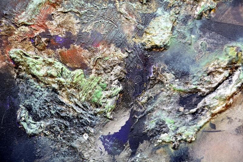 Maluje błękitnego pomarańczowego purpurowego kreatywnie tło fluidu muśnięcia uderzeń farba Akwareli farby abstrakta tło zdjęcie stock
