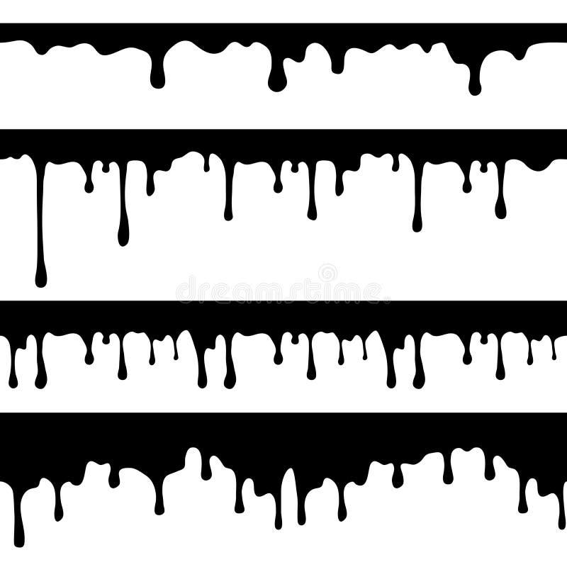Maluje obcieknięcie, czarnego ciecz lub rozciekłych czekoladowych kapinosów bezszwowych wektorowych prądy odizolowywających, royalty ilustracja