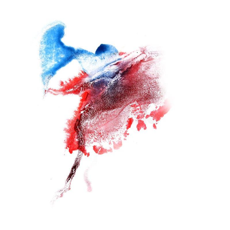 Maluje pluśnięcie czerwień, błękitnego atramentu kleks i białego abstrakcjonistycznej sztuki brushe, zdjęcie royalty free