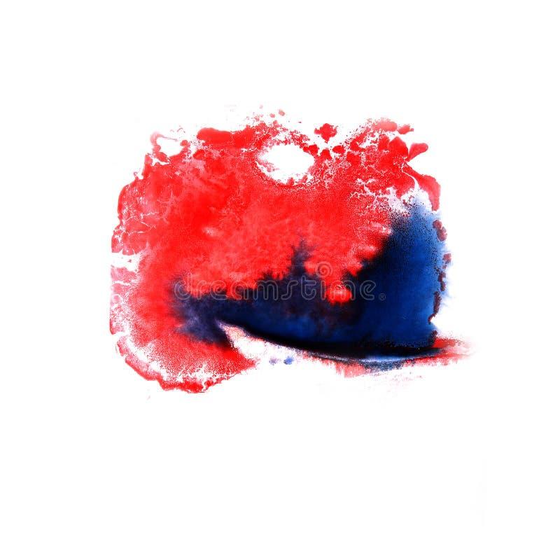 Maluje pluśnięcie czerwień, błękitnego atramentu kleks i białych abstrakcjonistycznej sztuki muśnięcia, fotografia royalty free