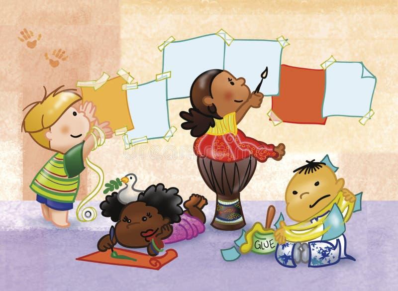 Download Maluje się dzieci ilustracji. Obraz złożonej z cztery - 3406516