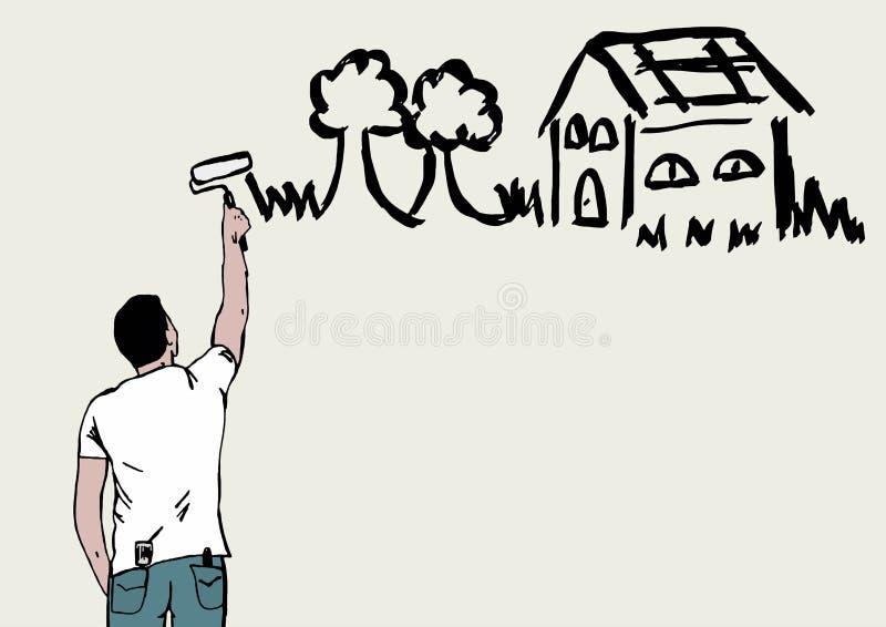 Download Maluje twój dom ilustracji. Ilustracja złożonej z arte - 57652270
