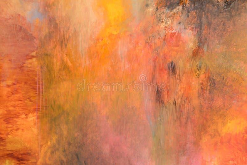 Maluje uderzenie kolor żółtego, czerwień, pomarańcze, splatters barwi, abstrakt ilustracja wektor