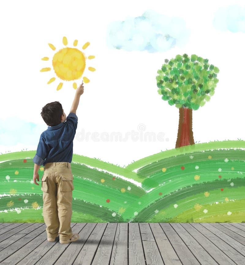 Maluje zieloną panoramę ilustracji