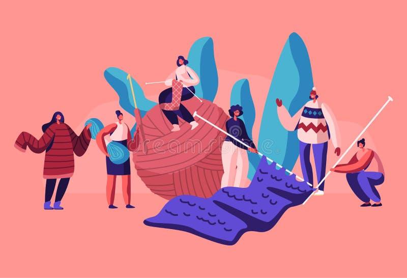 Malutcy Żeńscy charaktery Handcraft hobby pojęcie Kobiety Knitwork, dziewczyny z Ogromnymi Dziewiarskimi igłami i gejtaw dzianina royalty ilustracja