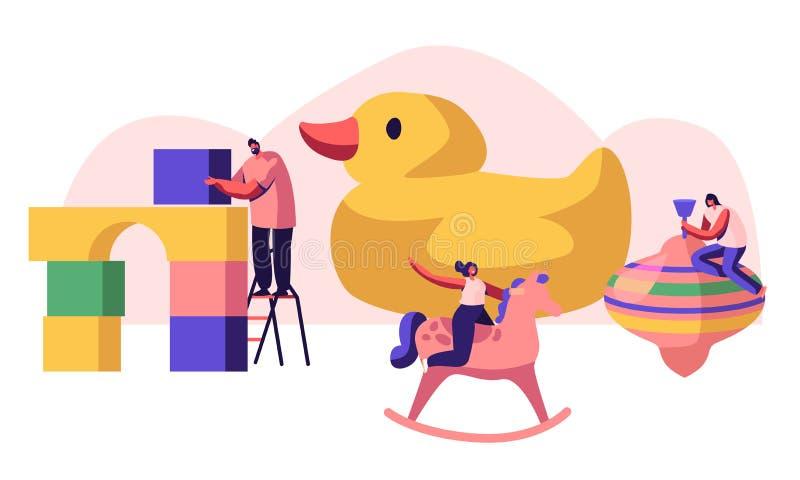 Malutcy charaktery Bawić się z Różnymi bawidełkami dla dzieci Buduje konstruktorów bloki, Jedzie Drewnianą Końską sztukę ilustracji