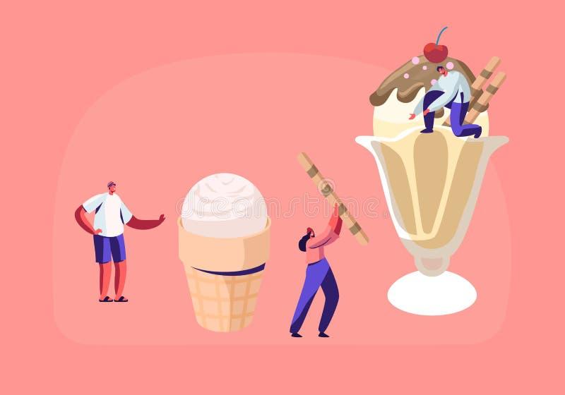 Malutcy charaktery Dekorują lody z cukierkami i jagodami Wyśmienicie Słodki deser, lato czasu jedzenie, Zimny posiłek ilustracji
