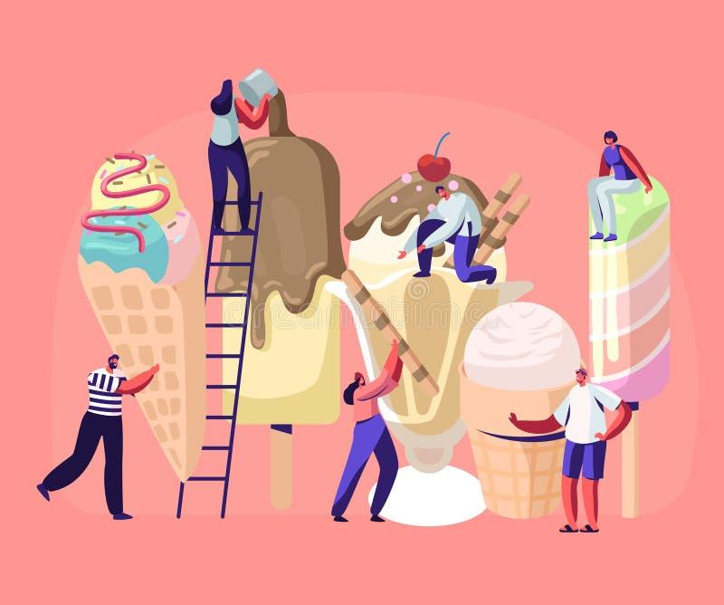 Malutcy charaktery na drabinach Dekorują lody Lato czasu jedzenie, Wyśmienicie Słodki deser, Zimny posiłek Różni typy lody ilustracji