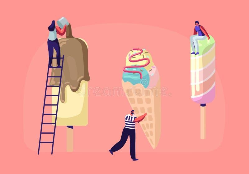 Malutcy charaktery na drabinach Dekorują lody z polewą i czekoladą Lato czasu jedzenie, Wyśmienicie Słodki deser, Zimna funda ilustracja wektor