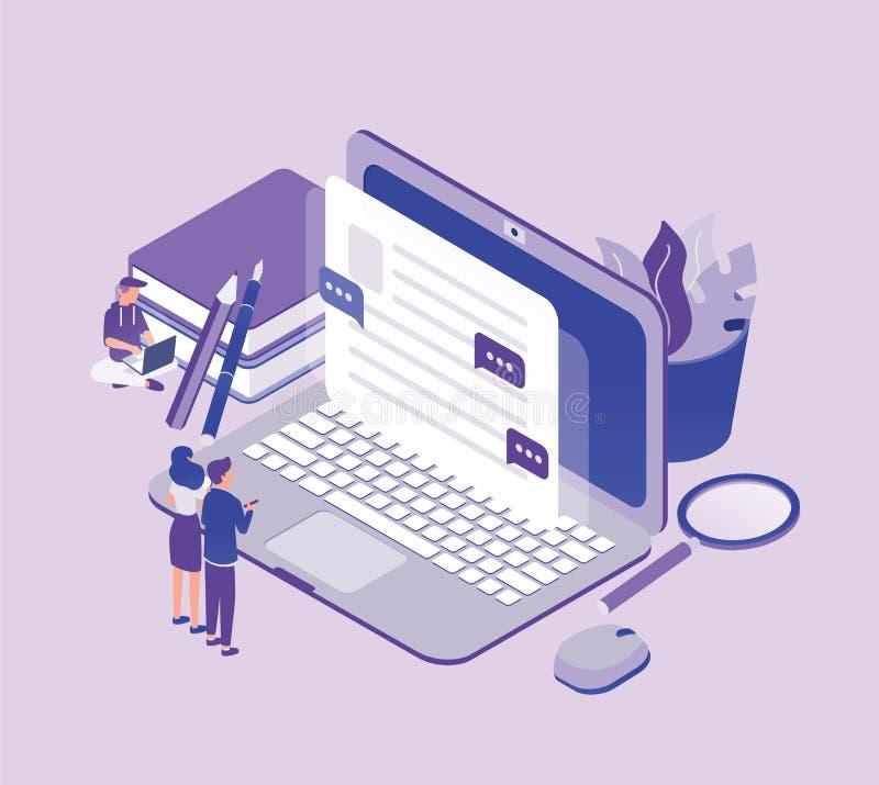 Malutcy ludzie stoi przed gigantycznym laptopem i patrzeje tekst na ekranie Pojęcie copywriting, cyfrowy ilustracja wektor