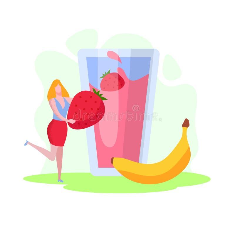 Malutka kobieta Stawiający Ogromny banan w szkle i truskawka royalty ilustracja