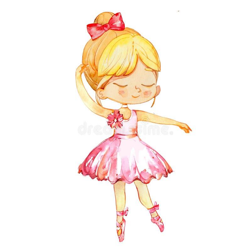 Malutki baleriny dziewczynki charakteru taniec Jest ubranym menchie Elegancki małej dziewczynki dziecko Pozuje Stażowego balet Pl royalty ilustracja