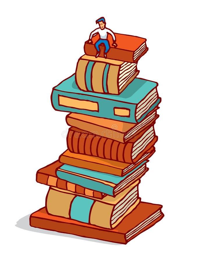 Malutki mężczyzna obsiadanie na stosie książki buduje edukację royalty ilustracja