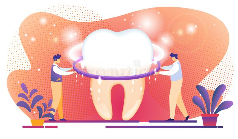 Malutki mężczyzny ustawiania jaśnienia ekran na Gigantycznym zębie royalty ilustracja
