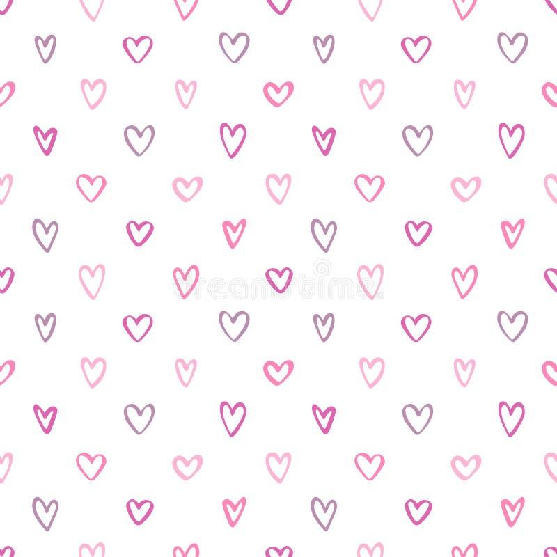 Malutki różny serce walentynek dnia bezszwowy tło ilustracja wektor